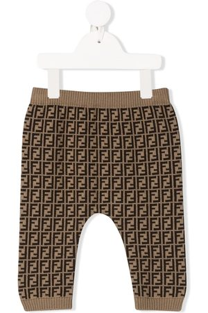 Fendi Kids FF pattern knitted leggings