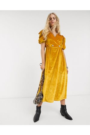 ASOS Velvet midi dress with puff sleeve and rhinestone button