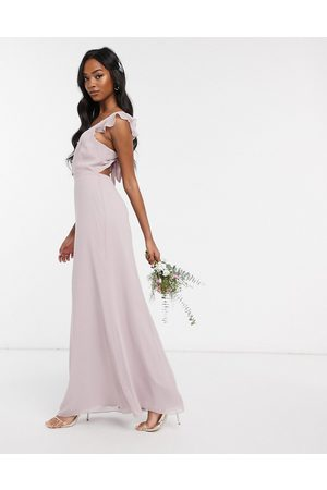Maids to Measure Bridesmaidbutton front maxi dress in chiffon with tie back detail