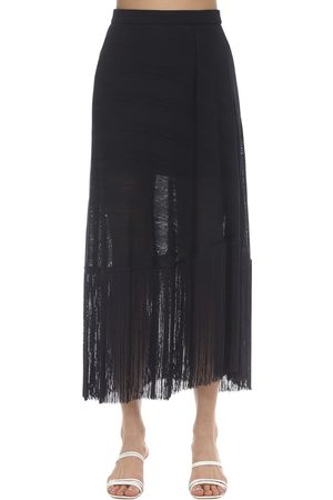 Rokh Fringed Nylon Knit Midi Skirt