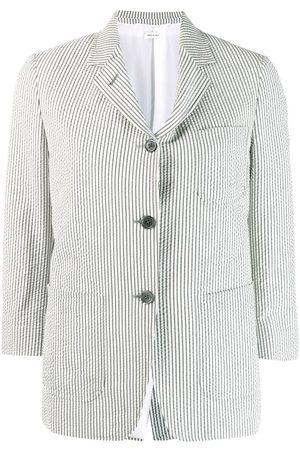 Thom Browne Seersucker cropped-sleeve blazer - Grey