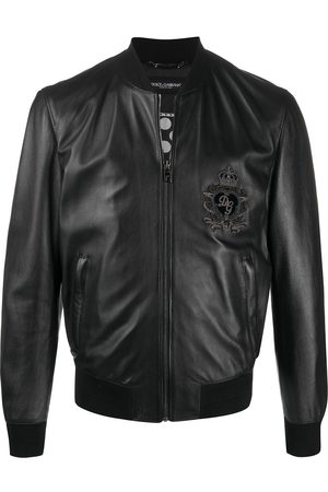 Dolce & Gabbana DG patch leather bomber jacket