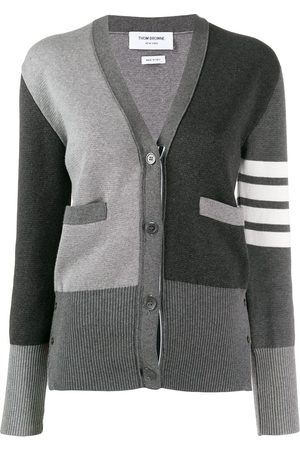 Thom Browne 4-Bar stripe panelled cardigan - Grey