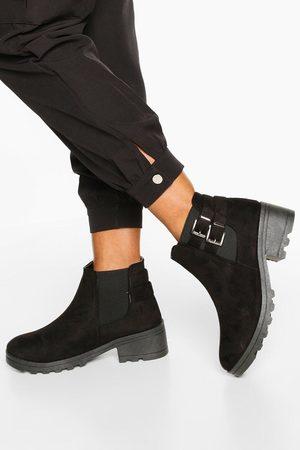 Boohoo Womens Buckle Detail Block Heel Chelsea Boots - - 5