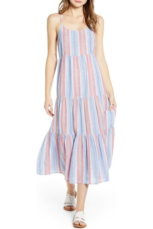 Beachlunchlounge Women's Lana Stripe Linen & Cotton Tiered Midi Sundress