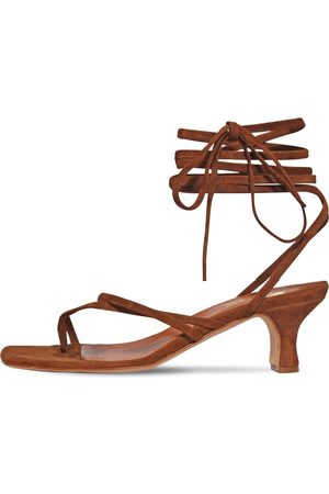 PARIS TEXAS 45mm Suede Toe Ring Lace-up Sandals