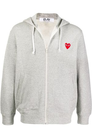Comme des Garçons Logo embroidered zipped hoodie - Grey