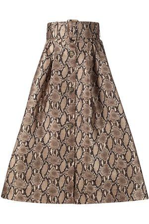 Msgm Women Printed Skirts - Belted-waist snakeskin-print midi skirt - Neutrals