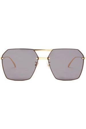 Bottega Veneta Women Aviators - Angular Aviator Metal Sunglasses - Womens - Grey