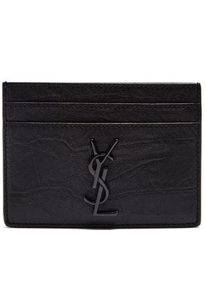 Saint Laurent Monogram Crocodile-effect Leather Cardholder - Mens