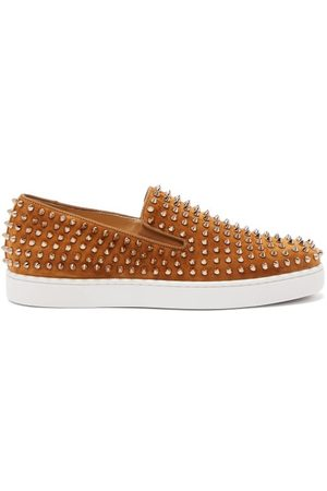 Christian Louboutin Roller-boat Spike-embellished Suede Trainers - Mens