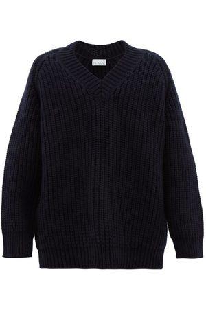 Raey Oversized V-neck Chunky Wool-blend Sweater - Womens - Navy