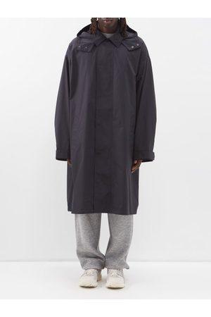 Raey Men Rainwear - Oversized Lightweight Cotton-blend Hooded Raincoat - Mens - Navy