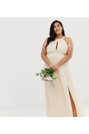 TFNC Plus Bridesmaid exclusive pleated maxi dress in pearl