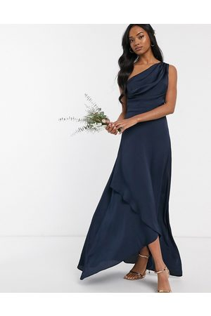 TFNC Women Maxi Dresses - Bridesmaid one shoulder maxi dress in navy