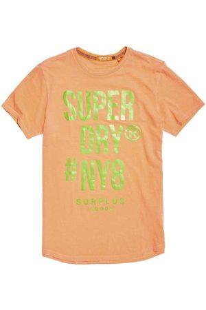 Superdry Men Short Sleeve - Surplus Goods Longline Graphic Short Sleeve T-shirt XXL Hyper Fire Coral