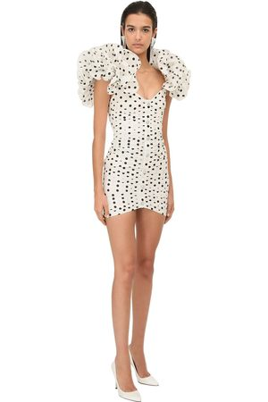 Alessandra Rich Polka Dots Taffeta Mini Dress