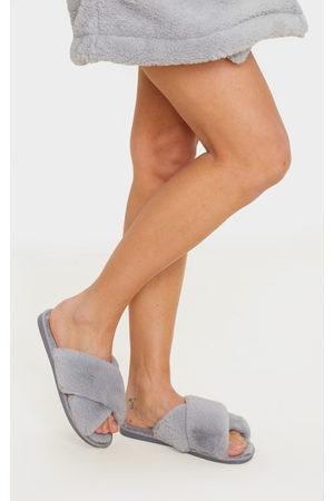 PRETTYLITTLETHING Grey Fluffy Cross Strap Slippers
