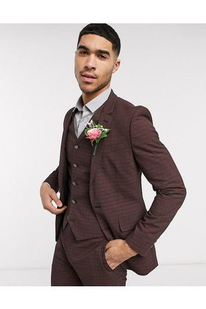 ASOS Wedding skinny suit jacket in mini check in burgundy and gray