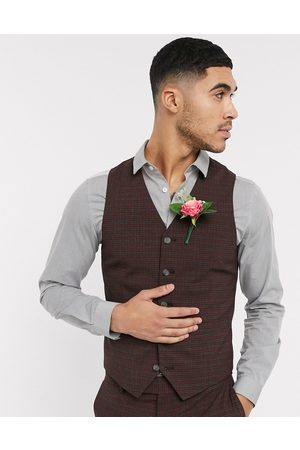ASOS Wedding skinny suit suit vest in mini check in burgundy and gray