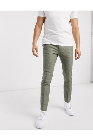 ASOS Super skinny smart pants in mid green dog tooth