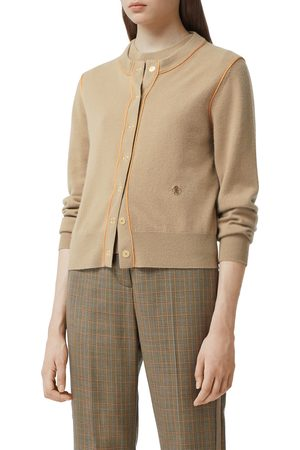 Burberry Women's Janice Tb Monogram Piped Cashmere Cardigan