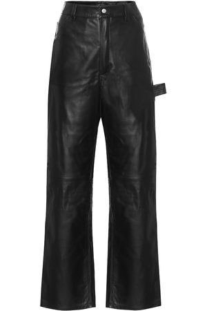 UNRAVEL Women Wide Leg - High-rise wide-leg leather jeans
