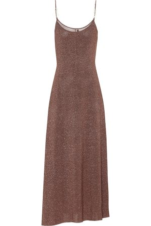 RIXO London Scarlett metallic knit midi slip dress
