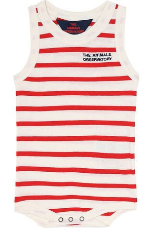 The Animals Observatory Turtle baby striped cotton onesie