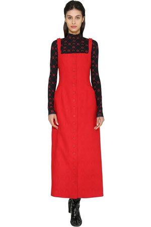 Marine Serre Monogram Jacquard Wool Midi Dress