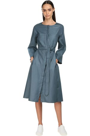 Max Mara Cotton Poplin Midi Dress W/ Belt