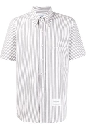 Thom Browne Striped short-sleeved seersucker shirt - Grey