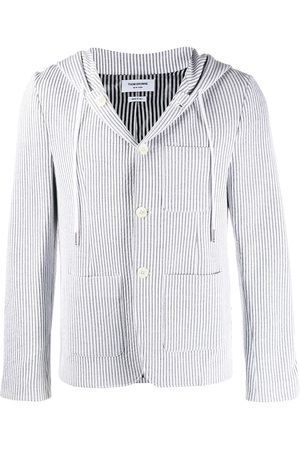 Thom Browne Men Hoodies - Seersucker striped hooded sport blazer - Grey