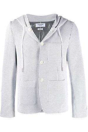 Thom Browne Seersucker striped hooded blazer - Grey