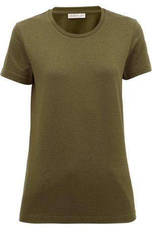 Moncler Logo-patch Cotton-jersey T-shirt - Womens - Khaki