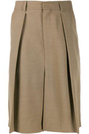 Ami Wide-fit pleated bermuda shorts - Neutrals