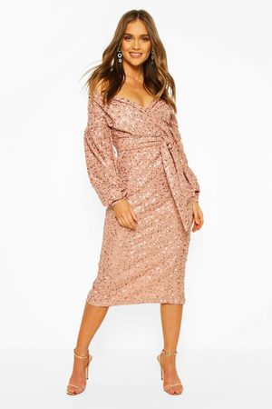 Boohoo Womens Occasion Sequin Off The Shoulder Midi Dress - - 2