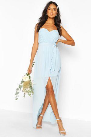 Boohoo Womens Bridesmaid Occasion Bandeau Pleated Maxi Dress - - 4