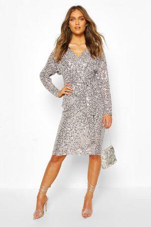 Boohoo Womens Occasion Sequin Plunge Tie Waist Midi Dress - - 2
