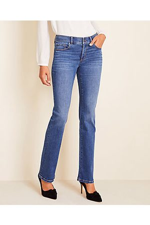 ANN TAYLOR Tall Sculpting Pocket Slim Boot Cut Jeans in Mid Stone Wash