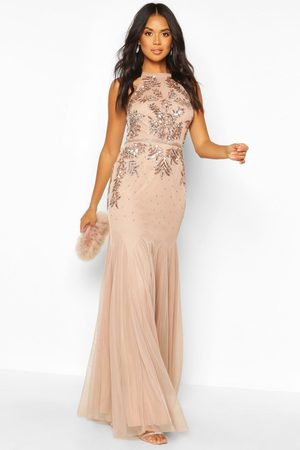 Boohoo Womens Bridesmaid Hand Embellished Halter Maxi Dress - - 2
