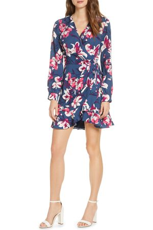 Adelyn Rae Women's Shayne Long Sleeve Floral Faux Wrap Dress