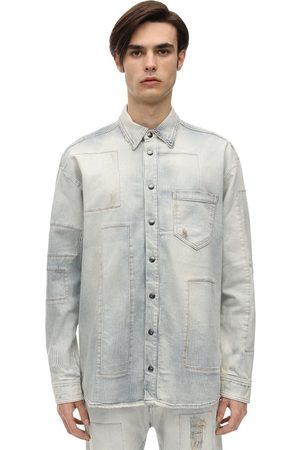 FAITH CONNEXION Oversized Pinstripe Cotton Denim Shirt