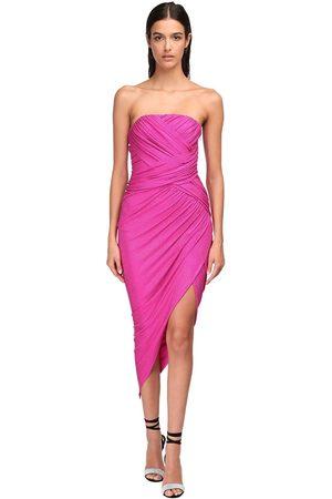 ALEXANDRE VAUTHIER Micro Crystal Draped Jersey Midi Dress
