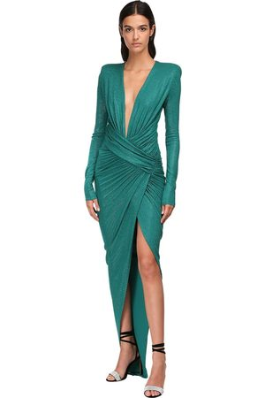 ALEXANDRE VAUTHIER Micro Crystal Draped Jersey Long Dress