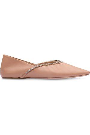 Miu Miu Crystal-embellished ballerina shoes - Neutrals