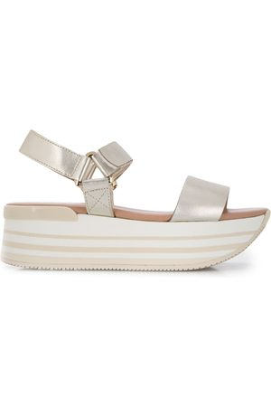 Hogan Metallic platform sandals - Neutrals