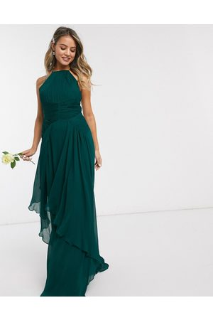 ASOS Bridesmaid pinny maxi dress with ruched bodice and layered skirt detail