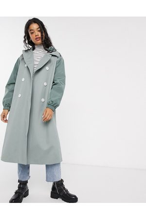 ASOS Hybrid contrast stitch trench coat in sage