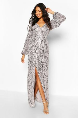 Boohoo Womens Occasion Sequin Plunge Maxi Dress - - 2